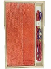 振袖 振袖用 総絞り 正絹 帯締め 帯揚げ セット オレンジ 赤地 No.3016