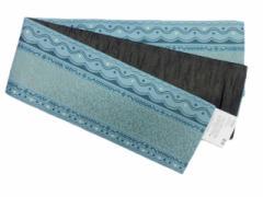 半幅帯 半巾 細帯 浴衣帯 四寸帯 リバーシブル四寸帯 日本製 水色地 幾何学 柄 No.3057