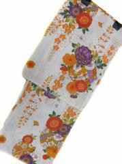 京都で一番浴衣を販売する小売屋さんお薦め 仕立て上がり浴衣  対応身長 154cm-165cm 綿紅梅 クリーム地 手毬 牡丹 柄 No.3108