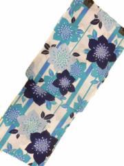 京都で一番浴衣を販売する小売屋さんお薦め 仕立て上がり浴衣  対応身長 154cm-165cm 綿紅梅 白地 縦縞 桔梗 柄 No.3109