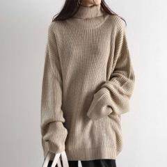 タートルネック ローゲージニット トップス ニット セーター 冬冬 厚手 ボリューム ゆったり ざっくり 暖かい 柔らか 防寒