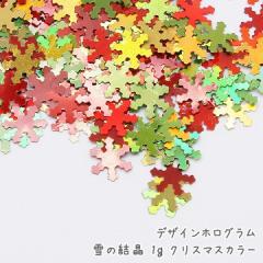 デザインホログラム 雪の結晶 1g[クリスマスカラー]★レジン封入材料 ラメ  ネイルアート スノーフレーク