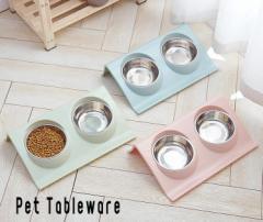 犬 猫 ペット用 ごはん皿 フードボウル ウォーターボウル 食器台 ステンレス ボウル2個付き 無地 シンプル 餌入れ 水入れ 洗える ペット