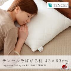 テンセル そばがら枕 43×63cm そば枕(TENCEL  蕎麦殻 そば殻 まくら マクラ PILLOW 涼感 通気性 硬め)