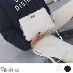 冬新作 キルティングファーバッグ ma 【即納】バッグ 鞄 ファー エコファー チェーン キルティング ふわふわ レディース