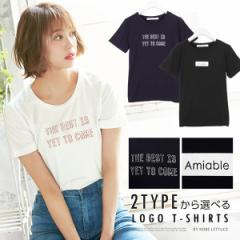 [選べる2TYPE]ロゴプリントTシャツトップス レディース 半袖 Uネック [C3330]【入荷済】