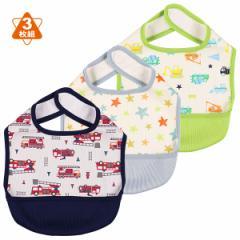 3枚組袖なし食事用エプロン(星・消防車)[袖なし 食事 エプロン スタイ ビブ 男の子 女の子 ベビー 赤ちゃん キッズ 子供 幼児 洗える