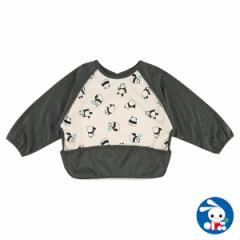 食事用長袖エプロン(パンダ)[赤ちゃん 食事 エプロン 男の子 女の子 ベビー 洗える おしゃれ 可愛い かわいい お食事 離乳食 長袖 ベビ