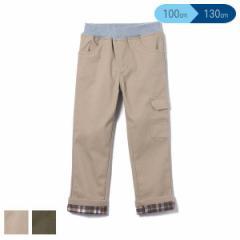 ツイル裏チェックサイドポケット付きパンツ【100cm・110cm・120cm・130cm】[男の子 アウトウェア 格子柄 ボンディングパンツ ズボン キッ