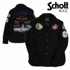 ショット Schott ジャケット シャツジャケット メンズ EMBELLISHED CPO WOOL SHIRT ブラック 7710