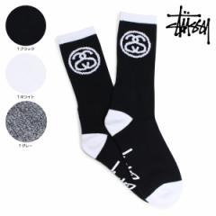 ステューシー STUSSY ソックス 靴下 メンズ レッグウェア SS-LINK SOCKS ブラック ホワイト グレー 138574
