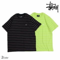 ステューシー STUSSY Tシャツ メンズ 半袖 ボーダー MINI STRIPE JERSEY ブラック ライム 1140061