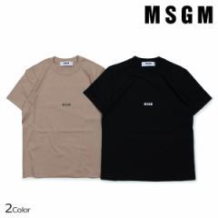 MSGM エムエスジーエム Tシャツ レディース 半袖 MICRO LOGO T-SHIRT ブラック ブラウンベージュ 2541MDM100 184798