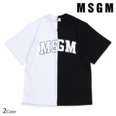 MSGM エムエスジーエム Tシャツ レディース 半袖 COLLEGE LOGO T-SHIRTS ブラック ホワイト 2541MDM162 184798