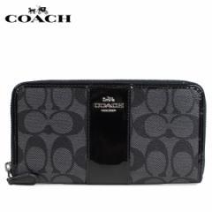 コーチ COACH 財布 長財布 レディース ラウンドファスナー シグネチャー ブラック F35443