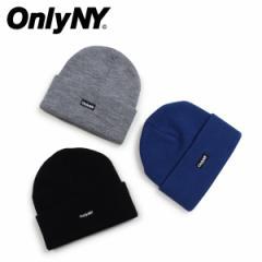 ONLY NY オンリーニューヨーク ニット帽 ニットキャップ ビーニー メンズ レディース LOGO BEANIE ブラック グレー ブルー