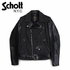 ショット Schott ジャケット ライダースジャケット メンズ MEN WOOL LEATHER RIDERS JACKET ブラック
