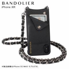 BANDOLIER バンドリヤー iPhone XR ケース ショルダー スマホ アイフォン レザー LUCY SILVER メンズ レディース ブラック 10LCY1001