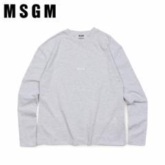 MSGM エムエスジーエム Tシャツ 長袖 レディース ロンT LOGO LONG SLEEVED SHIRTS WITH MICRO LOGO グレー MDM101 94