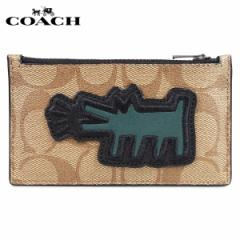 コーチ COACH キースへリング 財布 コインケース 小銭入れ カードケース メンズ シグネチャー レザー KEITH HARING コラボ カーキ F68470