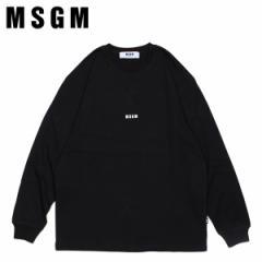 MSGM エムエスジーエム Tシャツ メンズ 長袖 ロンT LONG SLEEVED T SHIRT WITH MICRO LOGO PRINT ブラック 黒 MM160 [4/11 新入荷]
