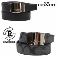 コーチ COACH ベルト メンズ 本革 レザー リバーシブル ビジネス チャコール ブラック F64828