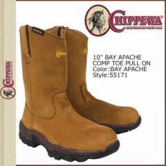 チペワ CHIPPEWA ブーツ 10インチ ワーク ベイアパッチ 55171 10INCH BAY APACHE COMP TOE PULL ON 2ワイズ LEATHER メンズ