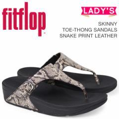 FitFlop サンダル フィットフロップ スキニー SKINNY TOE-THONG SANDALS SNAKE PRINT LEATHER レディース L69 ブラック