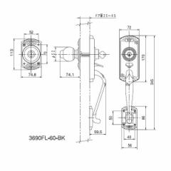 アルファ  4532757036415 エントランスロック フローレンス バックセット60mm 3690−FL−60−BK