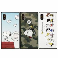 (予約)iPhone XS iPhone X 対応 ケース ピーナッツ スクエアガラスケース ハイブリッドケース PEANUTS SNOOPY スヌーピー