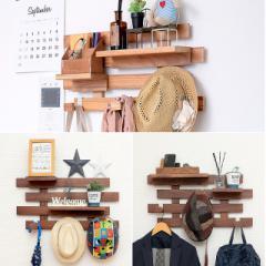 収納壁に付けられるすのこ セット2  天然木 桐材 簡単DIY 飾り棚 小物 ディスプレイ 写真