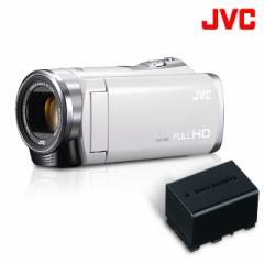 【バッテリー1個追加付属】ビデオカメラ/JVC KENWOOD ビデオカメラ Everio&バッテリーBN-VG119セット/GZ-HM199-W(ホワイト)