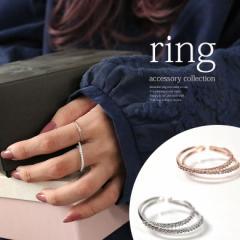 『2連デザインビジューリング』【 女性 プレゼント リング 指輪 アクセサリー レディース フリーサイズ ジルコニア 二連 パーティー  IL-