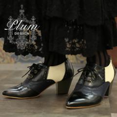 『Plum配色デザインオックスフォードパンプス』【 レディース 靴 シューズ ブーティー チャンキーヒール レースアップ プラム  TA-002】
