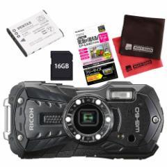 リコー 【デジカメ】 WG-60 ブラック (SD16GB&保護フィルム&予備バッテリー&クロス)