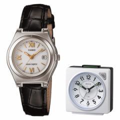 【セット】【腕時計】[カシオ]CASIO LWQ-10LJ-1A1JF wave cepter(ウェーブセプター) ブラック&リズム時計 目覚時計 8REA27D