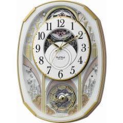 【電波掛け時計】リズム時計 4MN551RH03 からくり時計 スモールワールドノエルS