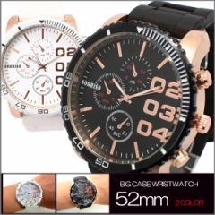 送料無料  (定形外郵便配送可能/3個まで) メンズ腕時計 52mm ビッグフェイス&ラバーベルト 腕時計