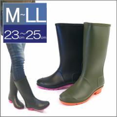 ラバーレインブーツ ロングレインブーツ 水玉 防水 雨靴 ガーデンシューズ ペタンコブーツ ラバーブーツ バイカラー(全2色)