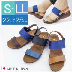 送料無料 サンダル レディース 日本製 ミュール ローヒール ワンストラップ 歩きやすい 痛くない サマー リゾート 2WAY (3色)