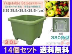 野菜 プランター 菜園 30L 380角型 14個セット 38.5×38.5×28.5H(cm) 深型 鉢 グリーン アイカ aika 法人のみ配送 送料無料