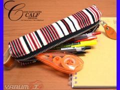 CALF カーフ 倉敷帆布 バトンペンケース garnet ガーネット Mサイズ ストライプ ストラップ付き おしゃれ かわいい 筆箱 送料無料