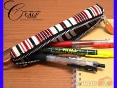 CALF カーフ 倉敷帆布 バトンペンケース garnet ガーネット Sサイズ ストライプ ストラップ付き おしゃれ かわいい 筆箱 送料無料
