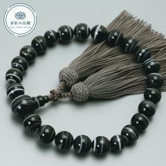数珠 念珠 男性用 ブレスレット 京匠の伝統 黒縞メノウ22玉 正絹頭房 すべての宗派 対応 略式 仏壇 仏具