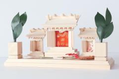 お守り置き 神棚 三社の神宮 本殿と拝殿 ミニチュア 神社 御守り入れ