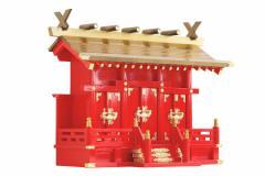 黄金屋根の稲荷宮 神棚 ■ 特上 重ね塗り■ 通し屋根 三社 ■ 商売繁盛 開運祈願 きつね