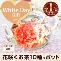 【優雅セット】 カーネーション 花茶10種とティーポット 送料無料 母の日 誕生日 内祝い