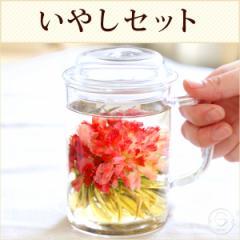 父の日 ギフト セット 花 咲く工芸茶5種と ガラスマグ いやしセット★花柄Ver 送料無料
