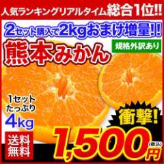 みかん 送料無料 たっぷり4kg 熊本 みかん 2セットで2kgおまけ増量 規格外 訳あり 複数購入は1箱おまとめ 11月中旬-11月末頃より順次出荷