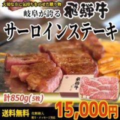 ぽっきり【送料無料】飛騨牛サーロインステーキ計850g(170g位×5枚)【化粧箱】牛肉ギフト/贈答/進物/のしOK